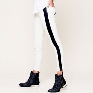 Free People Skinny Jeans Vegan Leather Trim